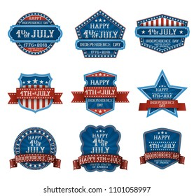 Fourth of July typographic design elements, american independence day greetings, EPS 10 contains transparency.