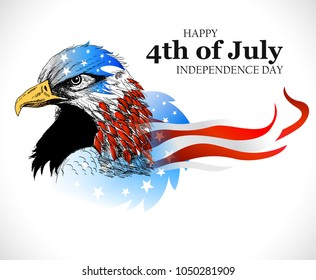 Fourth of July, United Stated independence day greeting. Vector illustration