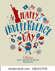 Fourth of July, United Stated independence day greeting. July 4th typographic design. Usable for greeting cards, banners, print and invitation.