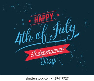 fourth of july united stated independence day greeting july 4th typographic design usable
