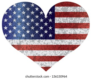 Fourth of July USA Flag in Heart Shape with Texture Vector Illustration