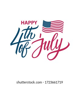 Fourth of july, USA Independence Day greeting card with hand lettering and waving United States national flag. 4th of july holiday vector illustration.