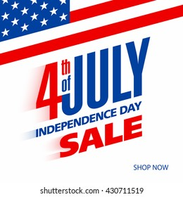 Fourth of July USA Independence day sale banner design template vector illustration