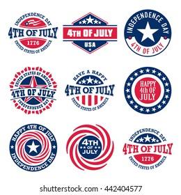 Fourth of July vintage labels commemorating United States Independence