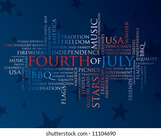 fourth of july words in red, white, and blue on a blue background