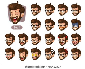 The fourth set of bearded hipster facial emotions cartoon character design with glasses and different expressions, happy, bored, scary, funny, uptight, disgust, amaze, silly, mad, etc. vector.