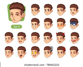The fourth set of male facial emotions cartoon character design with red hair and different expressions, happy, bored, scary, funny, uptight, disgust, amaze, silly, mad, etc. vector illustration.