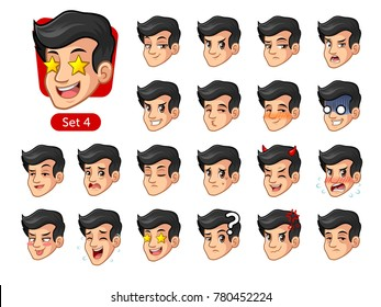 The fourth set of male facial emotions cartoon character design with black hair and different expressions, happy, bored, scary, funny, uptight, disgust, amaze, silly, mad, etc. vector illustration.