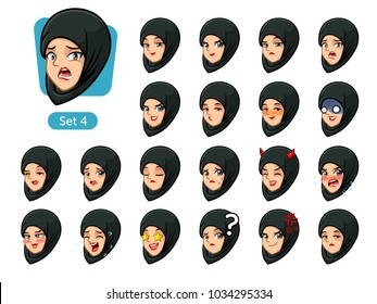 The fourth set of muslim woman wearing a black hijab cartoon character avatars with different facial emotions and expressions, happy, bored, scary, pervy, uptight, disgust, amaze, silly, mad, etc.
