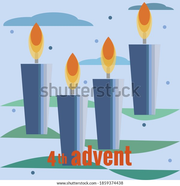 Fourth Sunday of Advent. Four candles, fourth lighted candles, snow, clouds, branches of Christmas tree. Vector illustration in flat style. Christmas countdown, for social networks, banners.