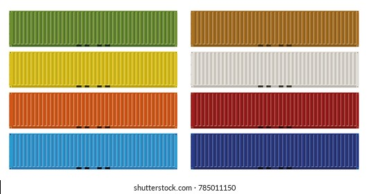 Fourty foot ISO cargo containers in eight colors vector illustration