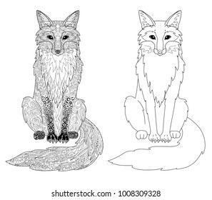Fox animal page doodle and outline animal for adult coloring book.