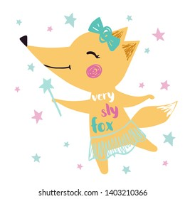 Fox baby girl cute print. Sweet animal with magic wand, crown, ballet tutu, pointe shoes. Cool illustration for nursery wallpaper, t-shirt, kids apparel, birthday card. Very sly fox slogan
