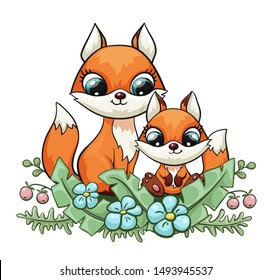 Fox baby with mom or dad cute print. Sweet tiny family. Cool friends animal with forest flower for nursery t-shirt, kids apparel, birthday card, invitation. Good for pajamas and playroom decor