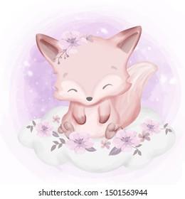 Fox baby sitting on cloud