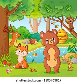 Fox and bear in the forest. Vector illustration with wild animals. Flying forest in cartoon style.