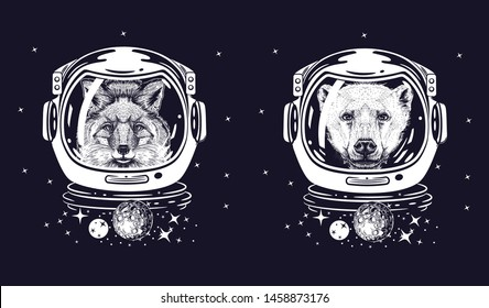 Fox and bear in space helmets. Set of space illustrations. Animals in space. T-shirt design.