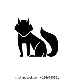 Fox black icon, vector sign on isolated background. Fox concept symbol, illustration