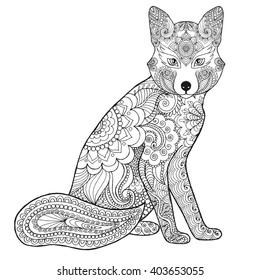 Fox. Black white hand drawn doodle animal. Ethnic patterned vector illustration. African, indian, totem, tribal, zentangle design. Sketch for coloring page, tattoo, poster, print, t-shirt