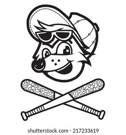 A fox cartoon head with baseball themes
