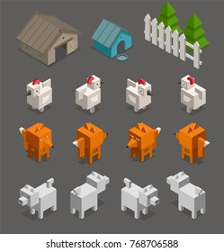 Fox chicken end dog character 3d Isometric set for arcade game. Farm, doghouse fence and tree low poly
