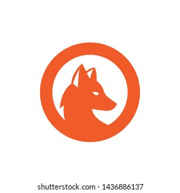 fox circle icon symbol vector logo design illustration