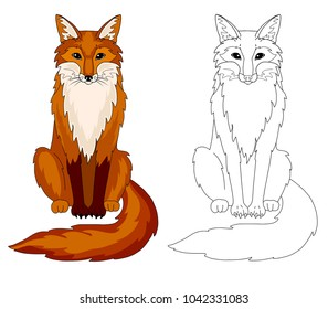 Fox coloring book page, outline animal with sample.