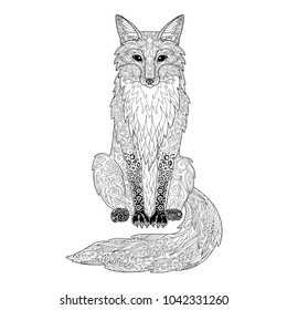 Fox Coloring Page Hand Drawn Ornamental Art For Adult Book Vector Illustration