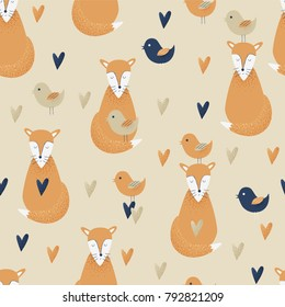 Fox concept, vector seamless pattern with birds and hearts