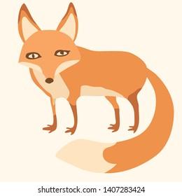 Fox cub character icon flat vector