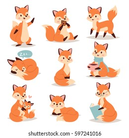 Fox cute adorable character doing different activities funny happy nature red tail and wildlife orange forest fox character animal style graphic vector illustration.