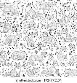 Fox cute animal with flowers seamless vector hand drawn doodle pattern for kids