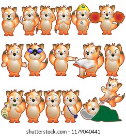 Fox Cute Cartoon doing several activities and difference emotions