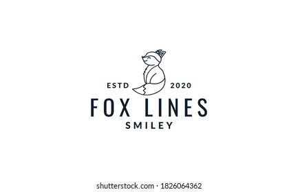 fox cute cartoon side view line logo icon vector illustration