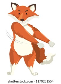 A fox dancing on white background illustration