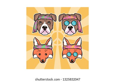 Fox and Dog in Hippie Style Vector Illustration