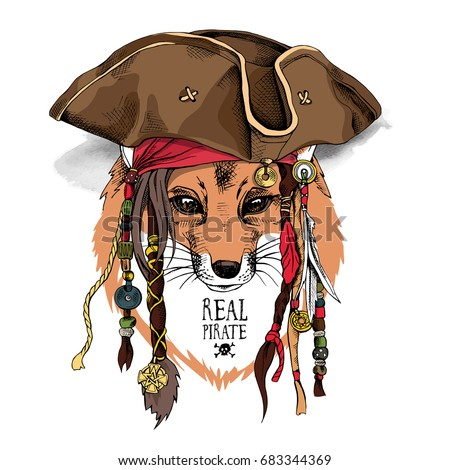 e1753157bc8 Fox with dreadlocks in a pirate hat and in a bandana. Vector illustration.