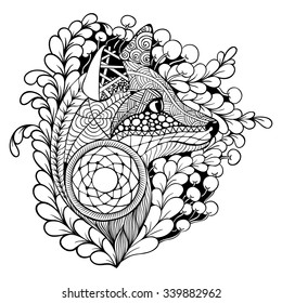 Fox with Dreamcatcher. Black and white. Coloring. Tattoo