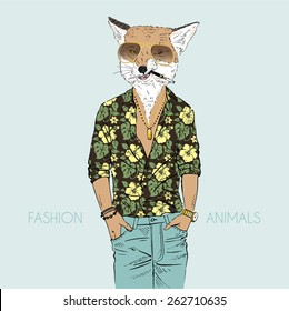 fox dressed up in aloha shirt