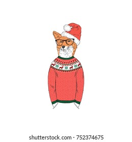 fox dressed up in funny Christmas sweater, furry art illustration