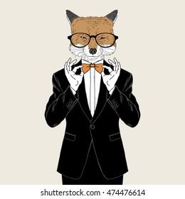 fox dressed up in tuxedo adjusting his tie bow, anthropomorphic illustration, fashion animals