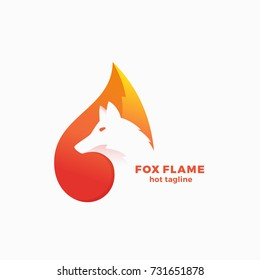 Fox Flame Abstract Vector Symbol, Sign or Logo Template. Negative Space Animal Face Modern Simple Design Concept. Isolated.