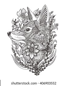 Fox in flowers. Hand-drawn with ethnic floral doodle pattern. Coloring page - zendala, design for spiritual relaxation for adults, vector illustration, isolated on a white background. Zen doodles.