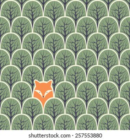 Fox in a forest seamless pattern. Vector design background.