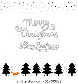 fox in a forest wild life animals cartoon style seasonal winter Christmas card poster on white background with wishes in English