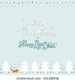 fox in a forest wild life animals cartoon style seasonal winter pastel Christmas card poster on  mint background with wishes in English