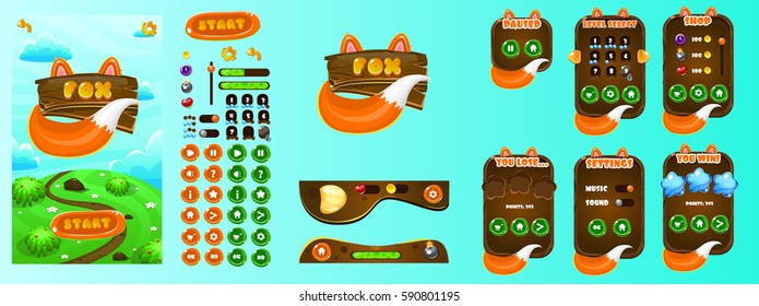 Fox Game Ui. Wooden Popups and game elements.Complete set of graphical user interface, GUI, to build 2D video games.