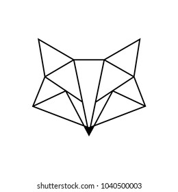 Fox. Geometric shapes. Straight lines and triangles. Minimalism illustration. The idea for a logo, a tattoo, a poster. Vector object.
