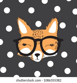 fox with glasses on polka dots backgorund vector illustration