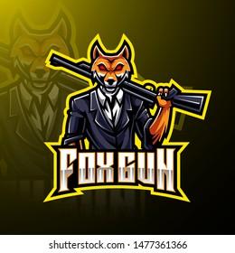 Fox gun esport logo design